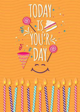Yellow birthday background with typography - Vector Illustration