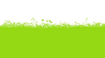 Deurstickers Lime groen 草花 野原のシルエット