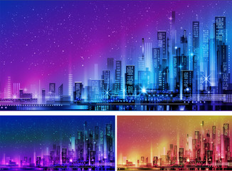 Deurstickers Violet Vector night city illustration with neon glow and vivid colors.