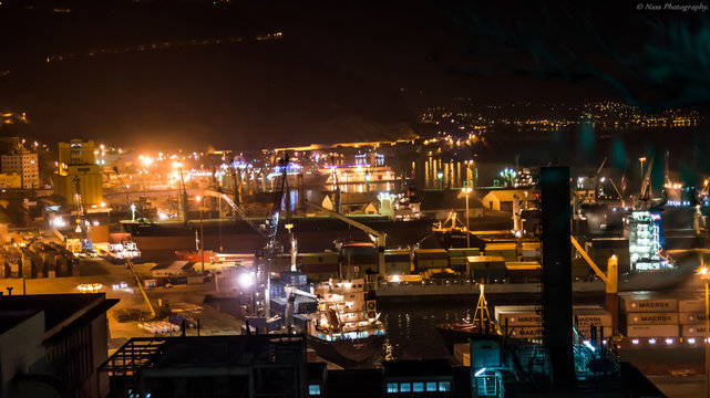 High Angle View Of Illuminated Commercial Dock