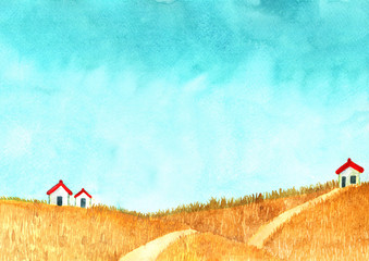Poster Turkoois House at goldden grass meadow with cloud sky watercolor hand painting background.