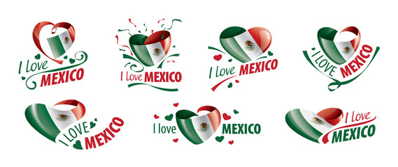 National flag of the Mexico in the shape of a heart and the inscription I love Mexico. Vector illustration