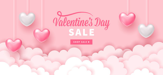 Valentines day holiday banner design with paper cut clouds and realistic heart shapes.