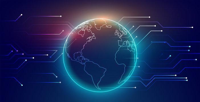 digital global connection network technology background design