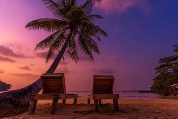 Fototapeta The beach koh kood a sea thailand in the beautiful sunset time