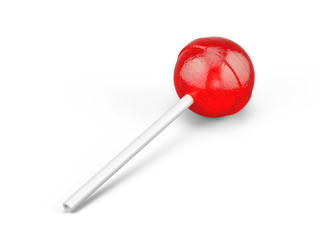 Red sweet lollipop - round candy on white stick isolated on white. 3d rendering