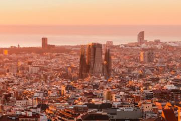 Sunrise view of Barcelona, Spain. Panoramic view of Barcelona Cityscape and Sagrada Fimiliar