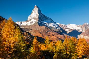 Materhorn at autumn in Zermatt, Switzerland. Beautiful mountain landscape