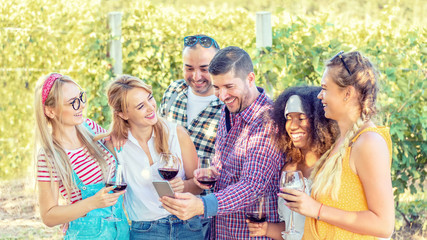 Cheerful group of best friends enjoy drinking wine at countryside vineyard picnic party while looking at social media selfie on mobile phone