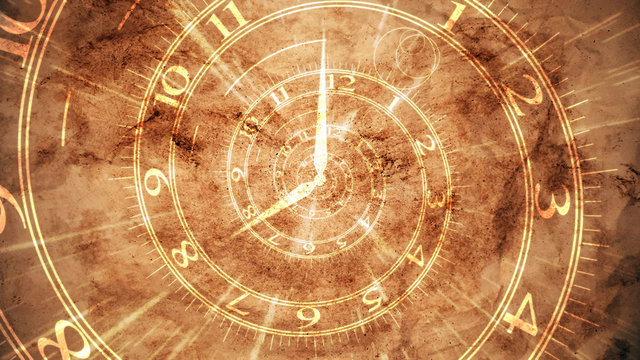Ancient spiral clock on brown pergament