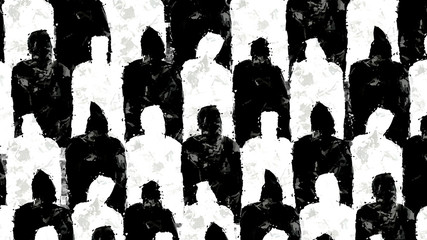 Black and white people silhouettes illustration