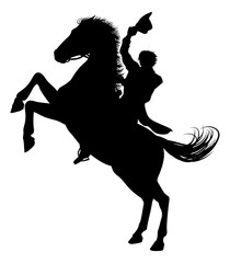 A cowboy riding a horse in silhouette waving hat in the air