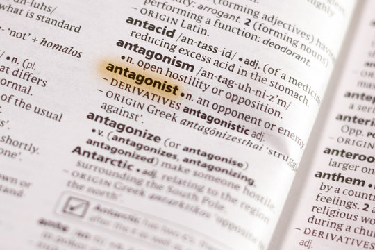 The word or phrase Antagonist in a dictionary.