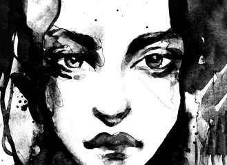 Abstract watercolor woman portraitin black and white, full face