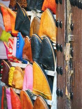 Colorful Babouches For Sale At Market Stall