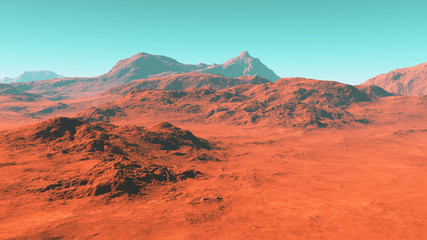 Poster Coral Mars landscape, 3d render of imaginary mars planet terrain