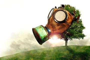 Baum mit Gasmaske im Smog, Klimaerwärmung durch Luftverschmutzung, weißer Hintergrund