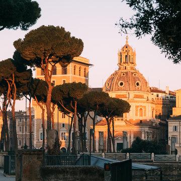 Rome, Italy - Jan 2, 2020: Trajan's Column (UNESCO World Heritage Site) in Trajan's Forum and church of Santa Maria di Loreto, Rome, Lazio, Italy