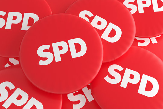BERLIN, GERMANY - JANUARY 28, 2017: German Election Politics Badges Concept: Pile of Red SPD Buttons, 3d illustration