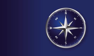 Vektor Kompass Clip art symbol mit glänzender metallischer Kompassrose auf blauem Hintergrund mit Textfreiraum
