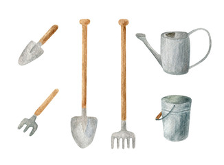 Watercolor gardening tools set. Hand drawn metal watering can, rake, bucket, shovel and trowel isolated on white. Spring, summer clipart for cards, decoration.