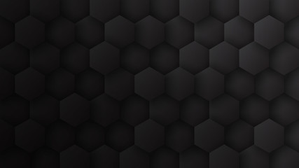 3D Hexagon Pattern Dark Gray Abstract Technological Minimalist Background. Tech Scientific Concept Hexagonal Blocks Structure Darkness Wide Wallpaper In Ultra High Definition Quality