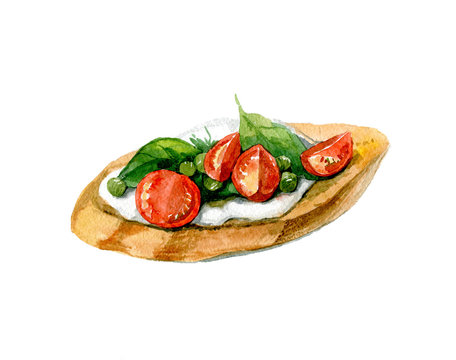 Appetizing bruschetta with tomatoes, cottage cheese and cuppers. Vegetarian food. Watercolor illustration isolated on white background