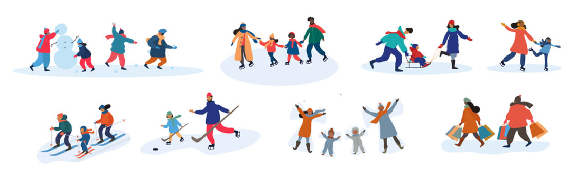 Set of eight different vector family activities in winter with parents and young children making a snowman, skiing, skating, tobogganing, playing ice hockey, celebrating in the snow and shopping