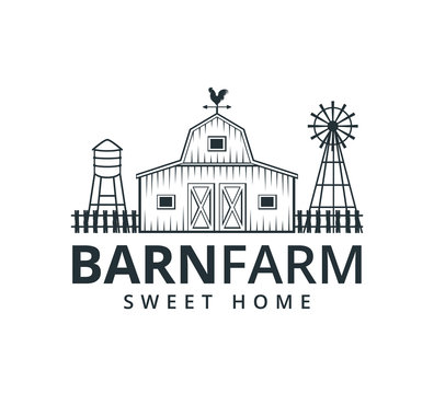 backyard barn farm house storage hangar with fence windmill and water torrent tower vector logo design