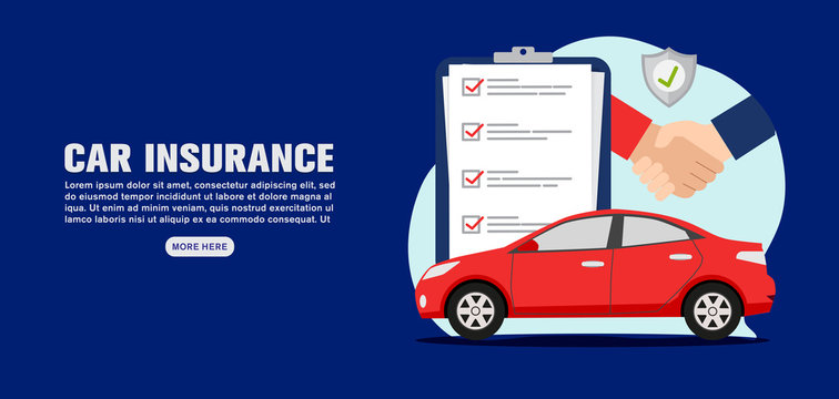 Car insurance banner concept, vector illustration