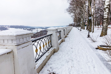 The fence of the Central Park in Kaluga, Russia