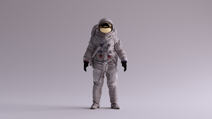 Astronaut with Gold Visor and White Spacesuit With Light Grey Background with Neutral Diffused Side Lighting Front View 3d illustration 3d render Fototapete