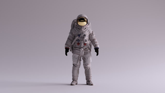 Astronaut with Gold Visor and White Spacesuit With Light Grey Background with Neutral Diffused Side Lighting Front View 3d illustration 3d render