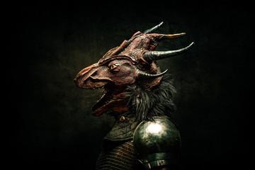 Portrait of a dragon-headed creature, in profile