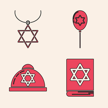 Set Jewish torah book, Star of David necklace on chain, Balloons with ribbon with star of david and Jewish kippah with star of david icon. Vector