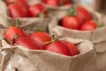 Fresh organic tomatoes at the farmer's market.