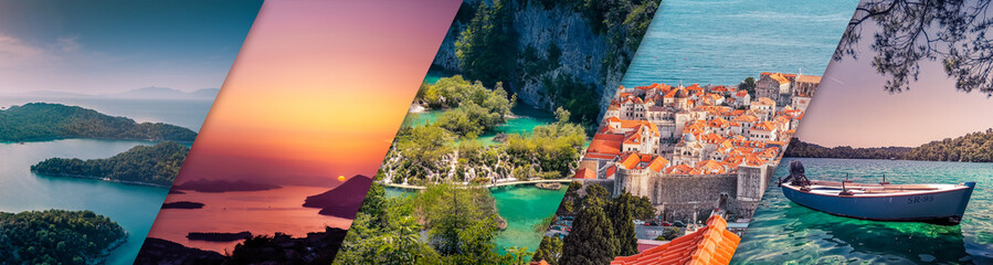 Photo sur Aluminium Cote The Best of Croatia - 5 Famous Places in Croatia in one Banner