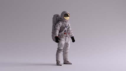 Astronaut with Gold Visor and White Spacesuit With Light Grey Background with Neutral Diffused Side Lighting 3 Quarter Right 3d illustration 3d render Fototapete