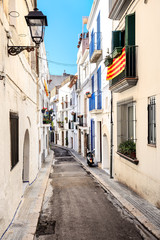 Street view of Sitges in Catalonia, Spain
