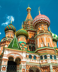 Fototapete - St Basil`s Cathedral on Red Square, Moscow, Russia, Europe. It is symbol and one of top landmarks of Russia. Close up view of famous church in Moscow center.