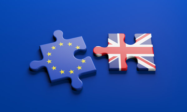 Brexit - British exit from the European Union in 2020. The concept of a 'Brexit' represented via jigsaw puzzle. Member states represented by pieces of puzzles with flag.  3D rendering graphics.
