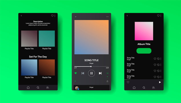 Social media network inspired by Spotify. Music player interface by subscription. Profile, Album, Song, Playlist mockup. Black apple music screen. Vector illustration.