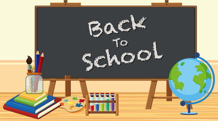 Back to school sign with board and school items