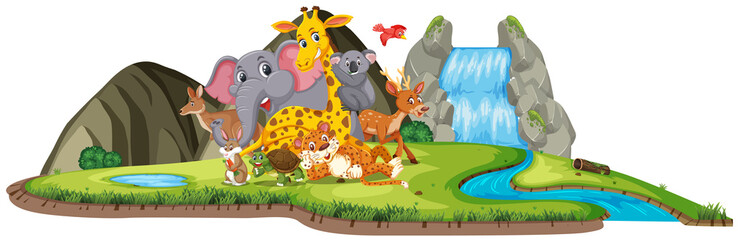 Scene with many cute animals by the waterfall