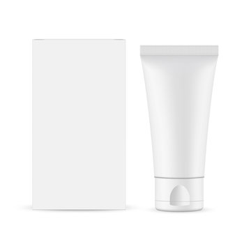 Small plastic tube with cardboard box mockup, front view, isolated on white background. Vector illustration