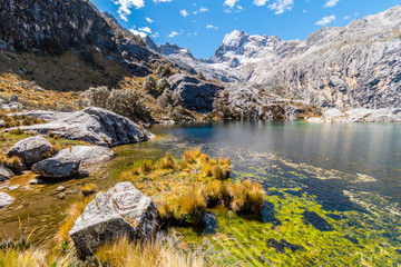 Colorful coast of Laguna Churup lake, Huaraz trek, Cordillera Blanca, Peru, South America