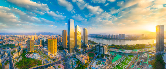 Foto op Plexiglas Dubai city scenery on the North Bank of Min River, Fuzhou City, Fujian Province, China