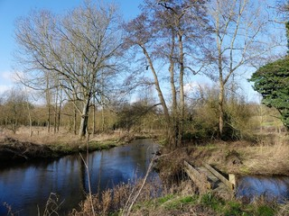 Bridge on the River Chess, a chalk stream in the Chiltern Hills, Hertfordshire, UK