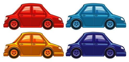 Set of four pictures of cars in different colors