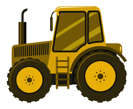 Single picture of yellow tractor on white background